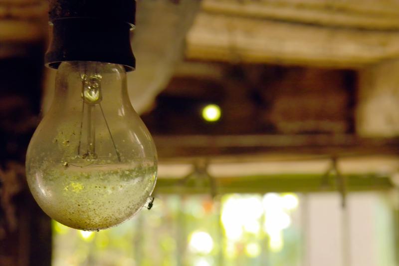 Нощем оплютата от мухи гола крушка осветява в жълто тайните на мазето