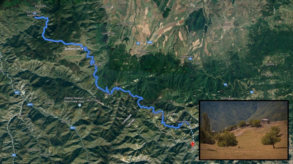 Първата част от маршрута: Бачково - махала Мумджидам.
