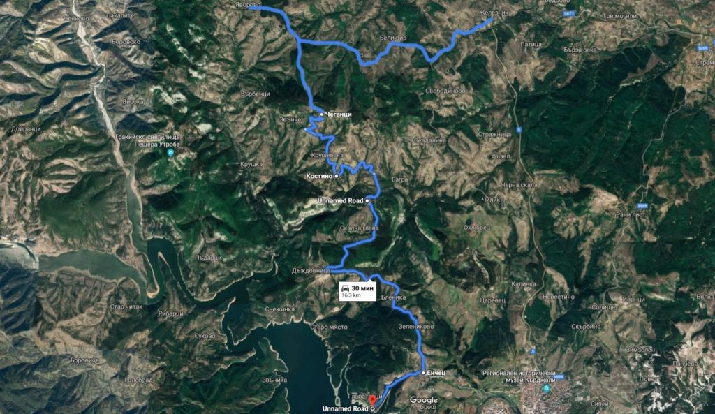 Втората част на маршрута - Железник-язовир Кърджали.